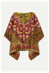 Etro - Reversible Printed Silk-twill Poncho - Brown