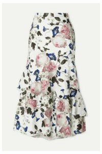 Erdem - Zennia Ruffled Floral-print Satin-jacquard Midi Skirt - White