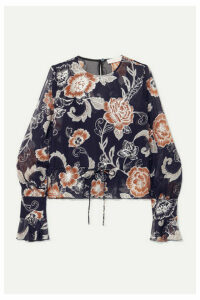 See By Chloé - Ruffled Metallic Silk And Cotton-blend Crepon-jacquard Blouse - Navy