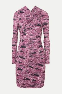 Isabel Marant - Jobia Ruched Printed Stretch-jersey Mini Dress - Pink