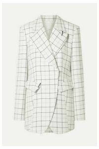 Tibi - Embellished Checked Woven Blazer - White