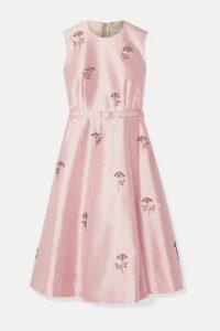 Erdem - Farrah Belted Crystal-embellished Mikado Dress - Pink