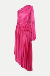 Halpern - One-sleeve Draped Asymmetric Stretch-jersey Midi Dress - Pink