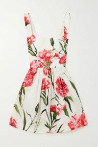 Alessandra Rich - Gathered Printed Silk-jacquard Midi Dress - Brown