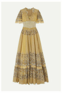 Etro - Ruffled Printed Cotton-voile And Jacquard Maxi Dress - Pastel yellow