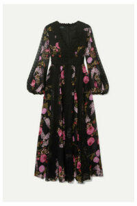 Giambattista Valli - Lace-trimmed Floral-print Silk-georgette Midi Dress - Black