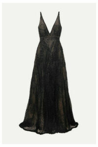 Costarellos - Beaded Tulle Gown - Black