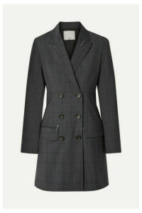 Tibi - Double-breasted Checked Wool-blend Mini Dress - Dark gray