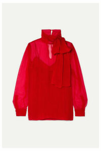 Valentino - Pussy-bow Georgette Blouse - Red