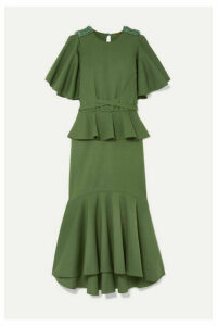 Johanna Ortiz - Follow The Drums Ruffled Embellished Cotton-blend Midi Dress - Army green