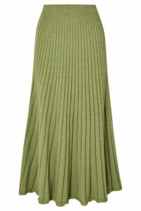 ANNA QUAN - Cleo Ribbed Cotton Midi Skirt - Green