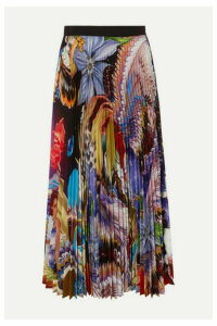 Mary Katrantzou - Pleated Floral-print Crepe De Chine Midi Skirt - Blue