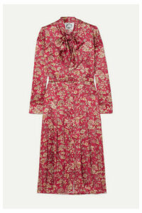 Evi Grintela - Gilda Pussy-bow Floral-print Silk-satin Midi Dress - Pink