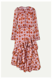 Johanna Ortiz - Acordeon Del Mar Asymmetric Ruffled Printed Crepon Midi Dress - Lilac