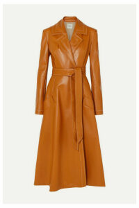 A.W.A.K.E. MODE - Belted Faux Leather Coat - Orange