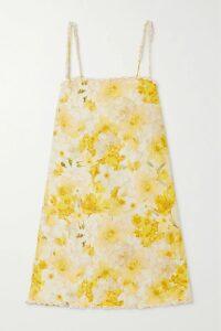 Alessandra Rich - Ruffle-trimmed Floral-print Silk-organza Mini Dress - Pink