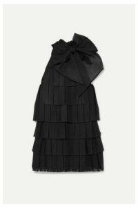 Balmain - Bow-embellished Pleated Knitted Mini Dress - Black