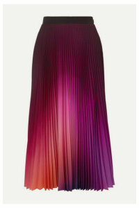 Mary Katrantzou - Pleated Ombré Crepe De Chine Midi Skirt - Purple