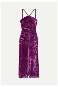 Attico - Bow-detailed Ruched Stretch-velvet Maxi Dress - Purple