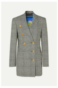 Versace - Button-embellished Prince Of Wales Checked Wool Blazer - Gray