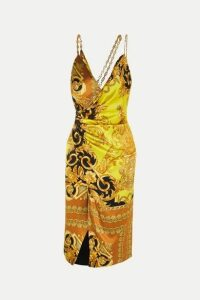 Versace - Ruched Embellished Printed Silk-satin Midi Dress - Yellow