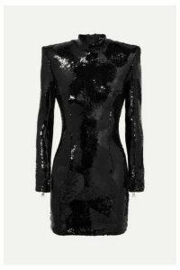Balmain - Sequined Crepe Mini Dress - Black