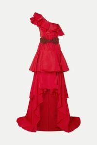 Johanna Ortiz - Cumbia Y Luceros One-shoulder Belted Ruffled Silk-taffeta Gown - Red