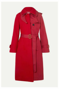 Sacai - Melton Wool And Cotton-gabardine Trench Coat - Red