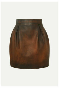 Versace - Pleated Antiqued-leather Mini Skirt - Brown