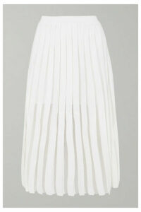Balmain - Pleated Knitted Midi Skirt - White