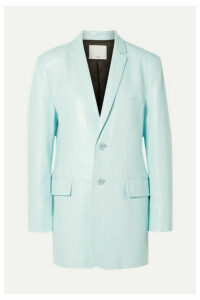 Tibi - Oversized Glossed-leather Blazer - Turquoise