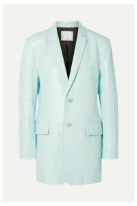 Tibi - Oversized Glossed-leather Blazer - Turquoise