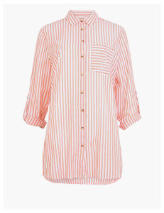 M&S Collection Pure Cotton Striped Longline Shirt