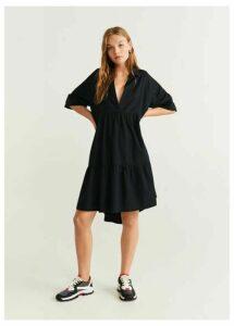 Ruffled shirt dress