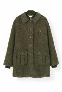 Ganni Boucle Wool Coat in Kalamata - DK36 Green