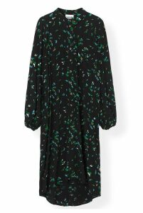 Ganni Printed Crepe Dress Verdant Green - 34 Green