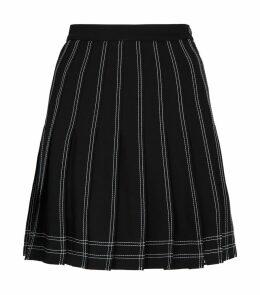 Contrast-Stitch Pleated Mini Skirt