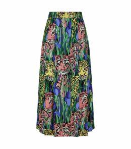 Silk Feline Garden Print Skirt