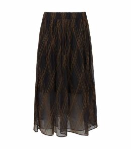 Silk Beaded Midi Skirt