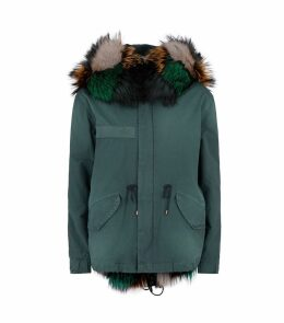 Fox Fur-Lined Parka Coat