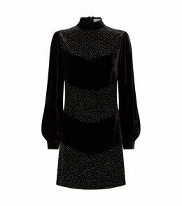 Diamanté Embellished Velvet Chloe Dress