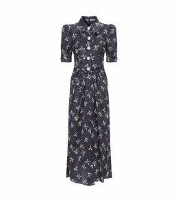 Silk Bow Print Crystal Button Dress