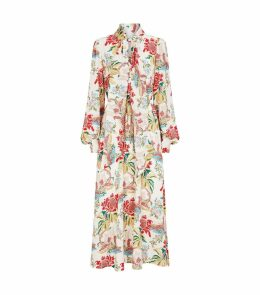 Floral Print Pussybow Maxi Dress