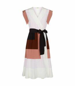 Silk Ingrid Colour-Block Wrap Dress