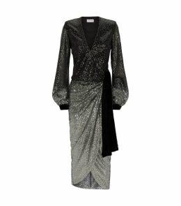 Sequin Wrap Jade Dress