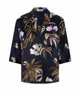 Silk Floral Collared Blouse
