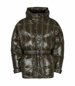 Belted Snakeskin Print Short Puffer Jacket