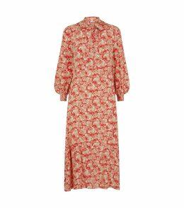 Silk Paisley Midi Dress