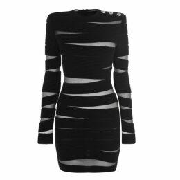 Balmain Long Sleeve Mesh Panel Knit Dress