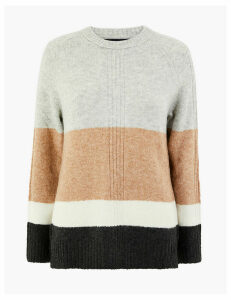 M&S Collection Colour Block Relaxed Fit Jumper